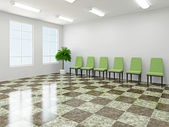 Green chairs in a lobby — Stock Photo