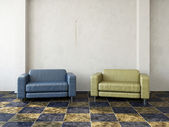 Blue and yellow chair — Stock Photo