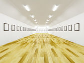 Long gallery with blank pictures — Stock Photo