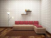 Sofá con cojines rojos — Foto de Stock