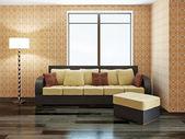 Sofa with yellow pillows — Stock Photo
