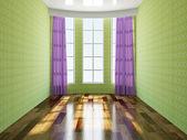 De groene lege kamer — Stockfoto