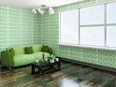 Divano con cuscini verdi — Foto Stock