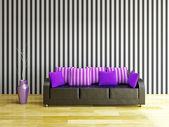Skinnsoffa med violett kuddar — Stockfoto