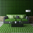 Sofa with green pillows — Lizenzfreies Foto