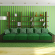 Sofa with green pillows — Stok fotoğraf