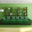 Sofa with green pillows — Stock fotografie