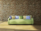Sofa with cushions — 图库照片