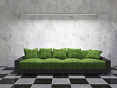 Sofa with green cushions — Stock Photo