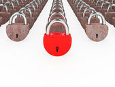 Red and rusty padlocks  — Stock Photo