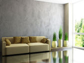 Yellow sofa and plants  — Stock Photo