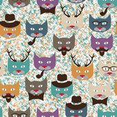 шаблон с кошками — Cтоковый вектор
