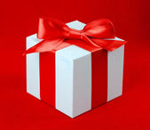 White box, bow and ribbon — Stock Photo