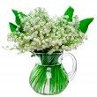 Stock Photo: Fresh lilies of valley in glass jar isolated on white back