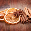 Sliced of dried orange, anis and cinnamon — Stock Photo