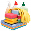 Sponges, bottles of chemistry and gloves — Stock Photo