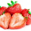 Red strawberries on white background isolated  — Stock Photo