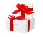 White box red bow and ribbon — Stock Photo