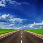 güzel gökyüzü altında yeşil alanlarda asfalt yol — Stok fotoğraf