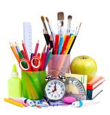 Back to School. Pencils and pens in cups — Stock Photo