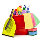 Nice arrangement of items for cleaning. Bucket, brush and shovel — Stock Photo