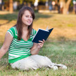 A student in the courtyard of the University — Stock Photo