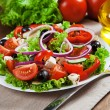 The Greek and Italian food - fresh vegetable salad on the table — Stock Photo #32867907