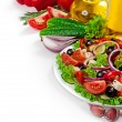 Greek cuisine - fresh vegetable salad isolated on white backgrou — Stock Photo