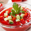 Delicious and flavorful gazpacho soup diet — Stock Photo