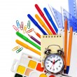 Back to School. Alarm clock, notepad, kraskib pencils, markers a — Stock Photo #32872701