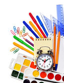 Back to School. Alarm clock, notepad, kraskib pencils, markers a — Stock Photo