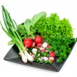 Fresh herbs - onions, radishes, lettuce and parsley on a plate i — Stock Photo