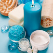 Candle, sea salt and seashells on the table. Spa concept — Stock Photo