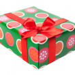 Box with gifts tied with red ribbon and bows isolated on white b — Stock Photo