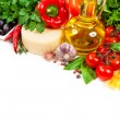 Italian cuisine. Vegetables, oil, spices and pasta — Foto de Stock