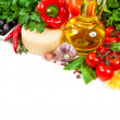 Italian cuisine. Vegetables, oil, spices and pasta — Stockfoto