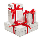 Silver gift boxes isolated on white background — Stock Photo