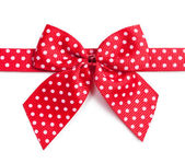 Red ribbon with white polka dots — Stock Photo