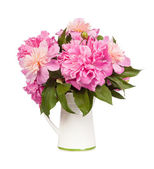 Beautiful bouquet of flowers - peonies. Isolated on white backgr — Stock Photo