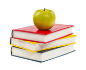 Back to school. Books and apple isolated on white background — Stock Photo