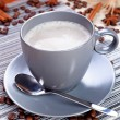 A cup of coffee on the table — Stock Photo
