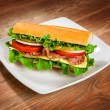 Tasty sandwich on the table — Stock Photo