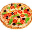 Delicious fresh pizza with ham and cherry tomatoes on a white ba — Stock Photo