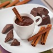 Stock Photo: Hot chocolate in a cup, pieces of chocolate and cinnamon