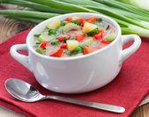 Heerlijke dieet Vegetarische soep op de tafel — Stockfoto