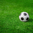 New soccer ball on green grass. Copyspace — Stock Photo