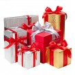 Gold, silver and red gift boxes — Stock Photo