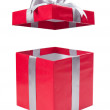 Open red gift box with a grey bow — Stock Photo