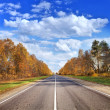 Стоковое фото: Autumn road under beautiful sky