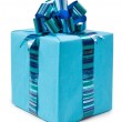 Blue gift box with beautiful bow — Stock Photo
